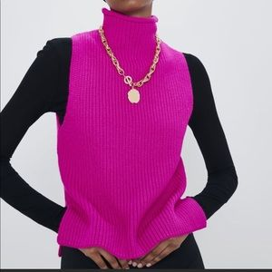 Zara knit pink high collar top sleeveless pink Nwt